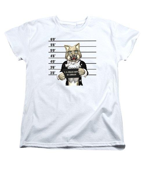 Big Bad Wolf Mugshot Women's T-Shirt (Standard Cut) by Methune Hively