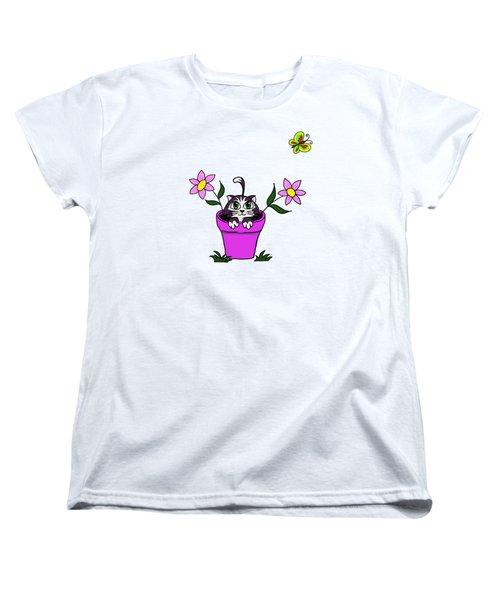 Big Eyed Kitten In Flower Pot Women's T-Shirt (Standard Cut) by Lorraine Kelly