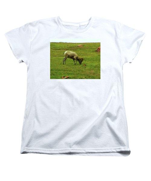 Women's T-Shirt (Standard Cut) featuring the digital art Bighorn Sheep Grazing by Chris Flees
