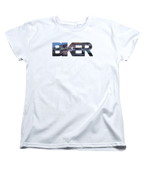 Biker Women's T-Shirt (Standard Cut) by Priscilla Burgers