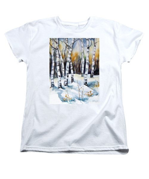 Women's T-Shirt (Standard Cut) featuring the painting The White Of Winter Birch by Inese Poga