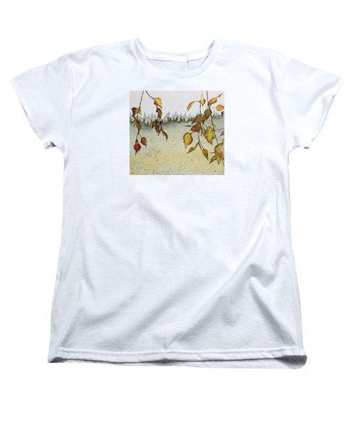 Birch In Autumn Women's T-Shirt (Standard Cut) by Carolyn Doe