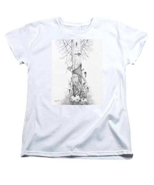 Bird In Birch Tree Women's T-Shirt (Standard Cut)
