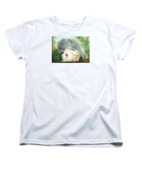 Women's T-Shirt (Standard Cut) featuring the painting Birdie In The Hole by Denise Fulmer