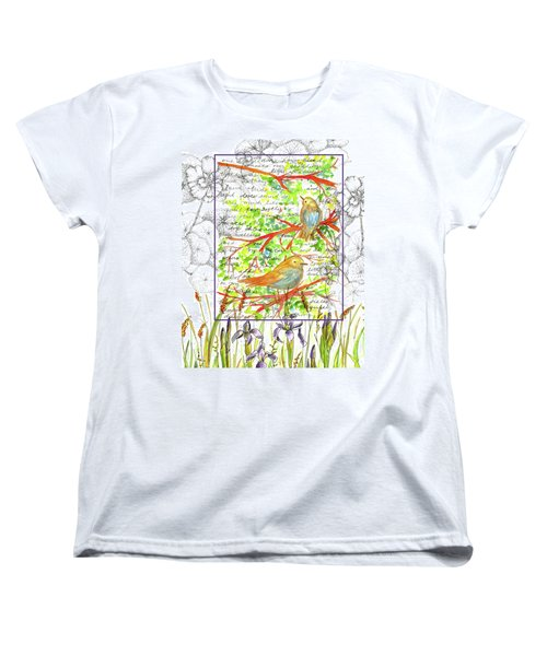 Women's T-Shirt (Standard Cut) featuring the painting Bluebirds Nature Collage by Cathie Richardson