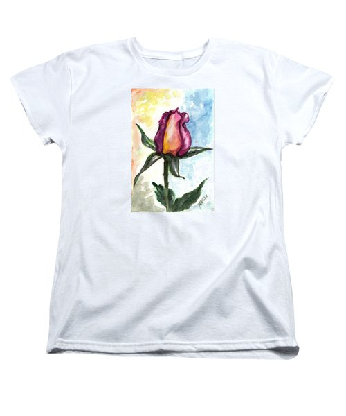 Women's T-Shirt (Standard Cut) featuring the painting Birth Of A Life by Harsh Malik