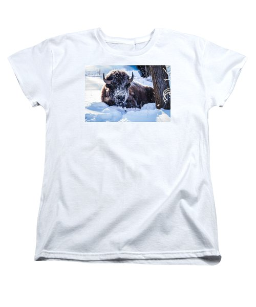 Women's T-Shirt (Standard Cut) featuring the photograph Bison At Frozen Dawn by Yeates Photography