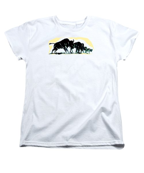 Bison Prairie Run Women's T-Shirt (Standard Cut) by Aliceann Carlton