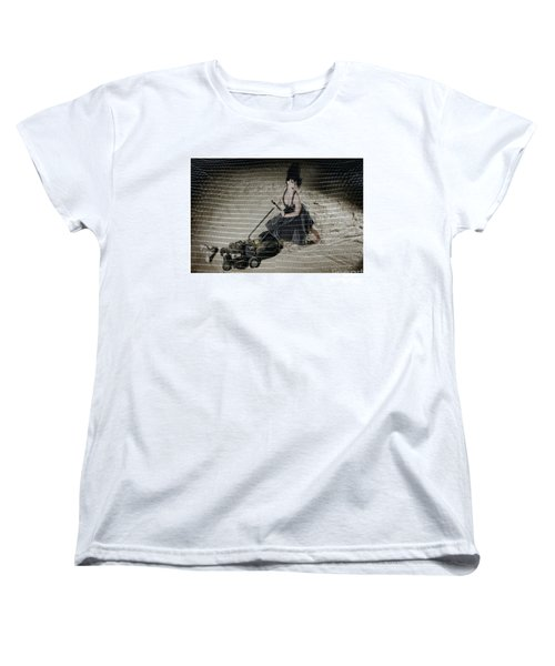 Women's T-Shirt (Standard Cut) featuring the photograph Bizarre Girl With Lawn Mower On Beach by Michael Edwards