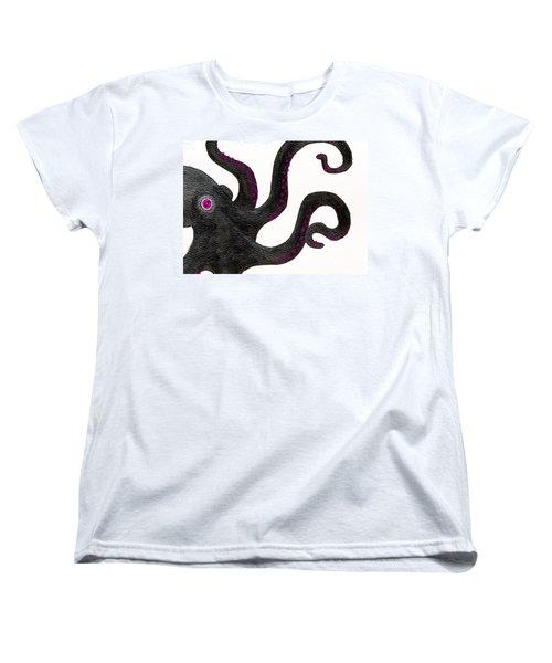 Black And Purple Octopus Women's T-Shirt (Standard Cut) by Stefanie Forck