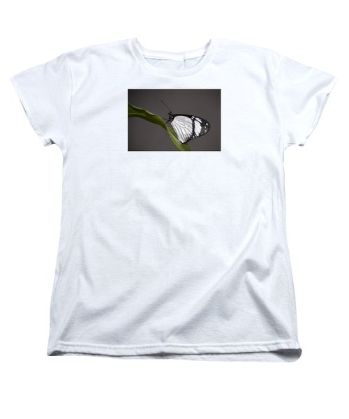 Black And White Butterfly Women's T-Shirt (Standard Cut) by Penny Lisowski