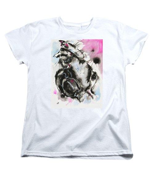 Women's T-Shirt (Standard Cut) featuring the painting Black And White Cat Sleeping by Zaira Dzhaubaeva