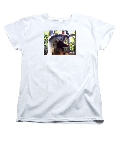 Women's T-Shirt (Standard Cut) featuring the photograph Black And White Colobus Monkey by Shawna Rowe