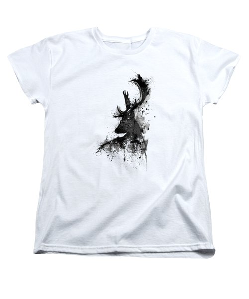 Black And White Deer Head Watercolor Silhouette Women's T-Shirt (Standard Fit)
