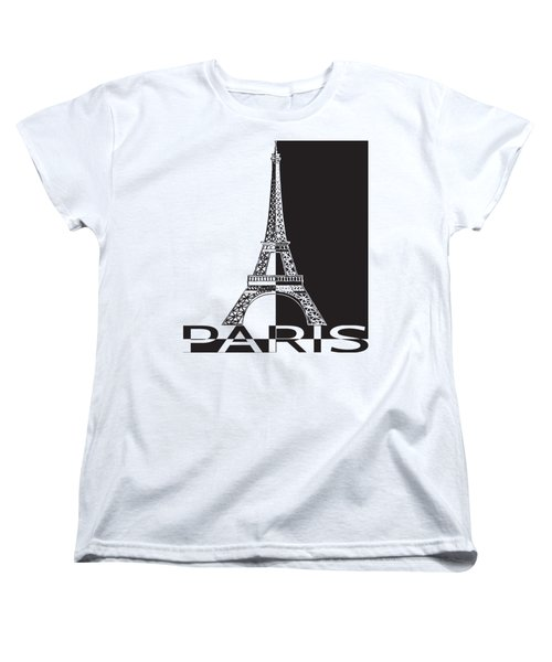 Black And White Eiffel Tower Women's T-Shirt (Standard Cut)