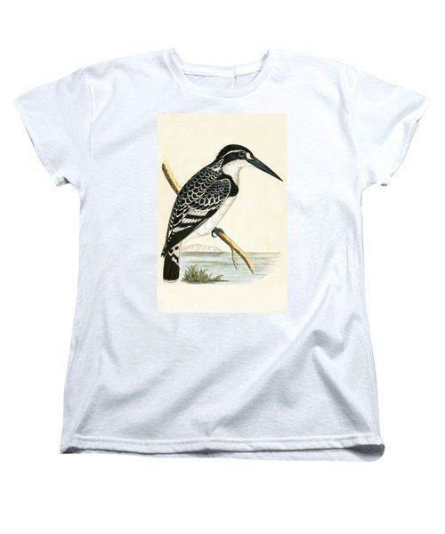 Black And White Kingfisher Women's T-Shirt (Standard Cut) by English School