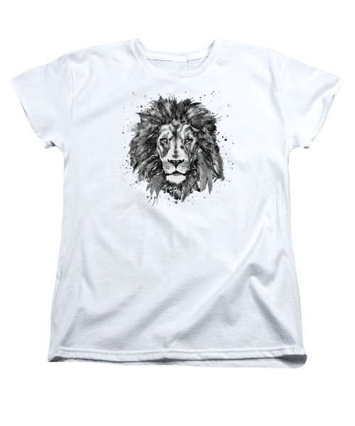 Women's T-Shirt (Standard Cut) featuring the mixed media Black And White Lion Head  by Marian Voicu