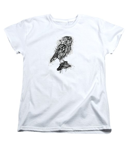 Black And White Owl Women's T-Shirt (Standard Cut) by Marian Voicu