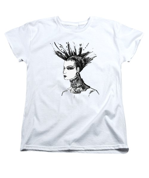 Women's T-Shirt (Standard Cut) featuring the digital art Black And White Punk Rock Girl by Marian Voicu
