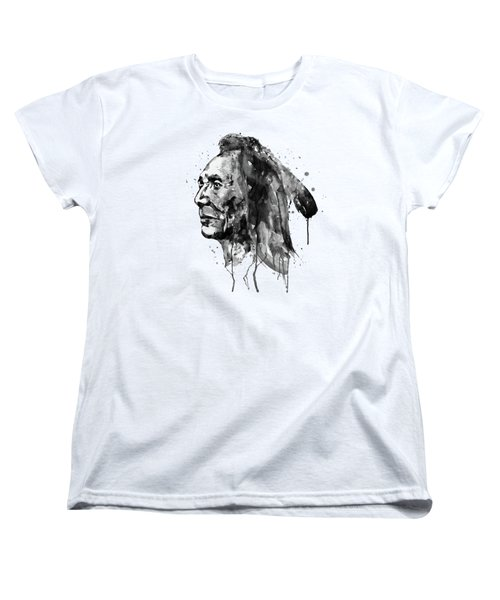Women's T-Shirt (Standard Cut) featuring the mixed media Black And White Sioux Warrior Watercolor by Marian Voicu