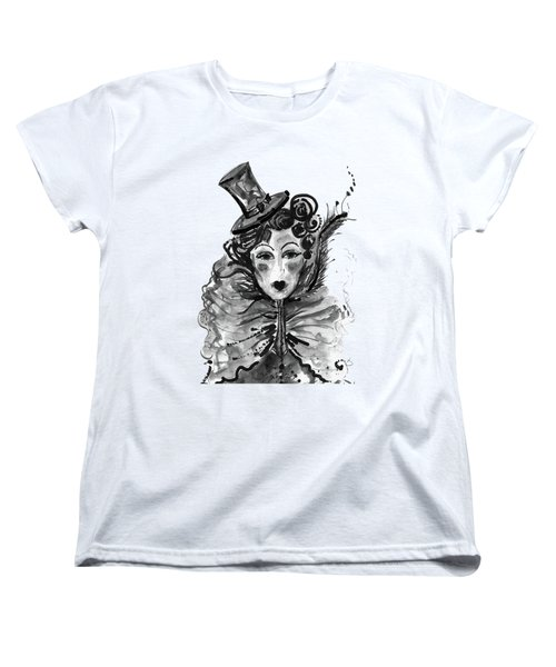 Women's T-Shirt (Standard Cut) featuring the mixed media Black And White Watercolor Fashion Illustration by Marian Voicu