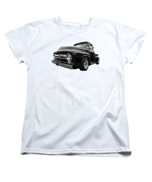 Women's T-Shirt (Standard Cut) featuring the photograph Black Beauty - 1956 Ford F100 by Gill Billington