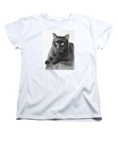 Black Cat Detailed Drawing Women's T-Shirt (Standard Cut) by Kate Sumners