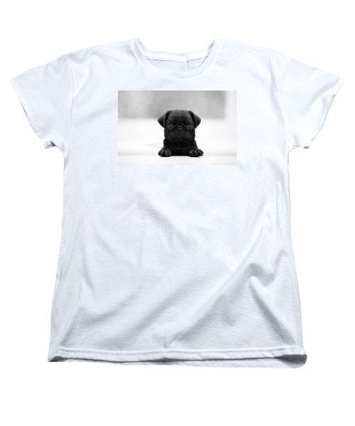 Black Pug Women's T-Shirt (Standard Cut) by Sumit Mehndiratta