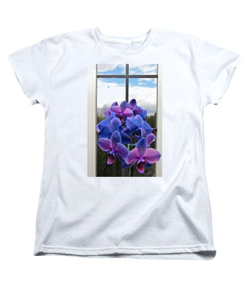 Women's T-Shirt (Standard Cut) featuring the photograph Black Sapphire Orchids  by Aaron Berg
