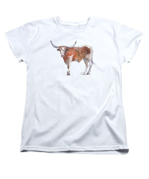 Bless Your Heart Of Texas Longhorn A Watercolor Longhorn Painting By Kathleen Mcelwaine Women's T-Shirt (Standard Cut) by Kathleen McElwaine