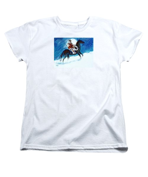 Women's T-Shirt (Standard Cut) featuring the painting Blizzard Moon-the Last Stray by Seth Weaver