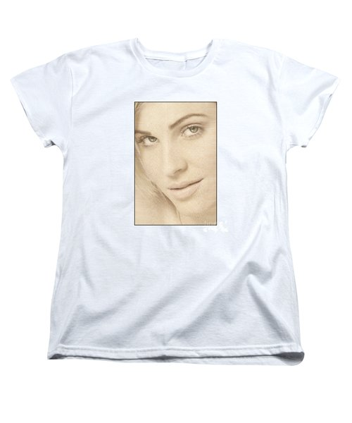 Women's T-Shirt (Standard Cut) featuring the photograph Blonde Girl's Face by Michael Edwards