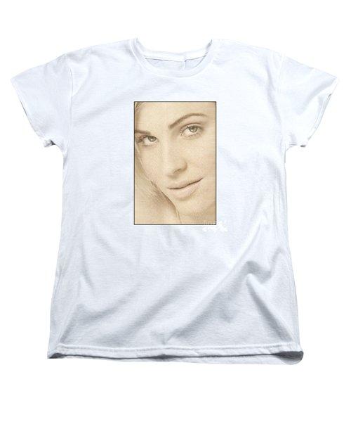Blonde Girl's Face Women's T-Shirt (Standard Cut) by Michael Edwards