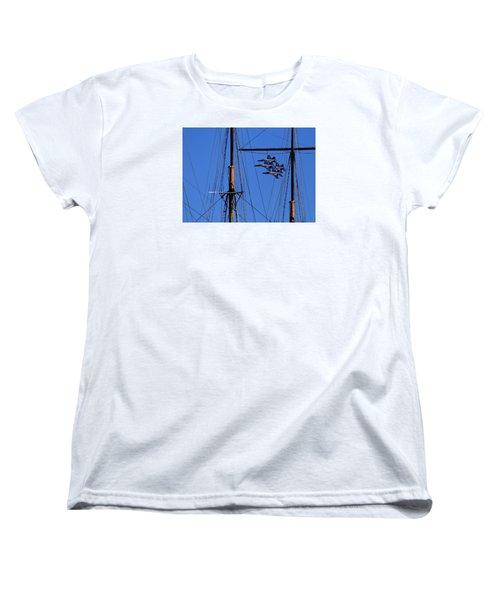 Blue Angels Pass Behind Masts Of The Balclutha At Hyde Street Pier Women's T-Shirt (Standard Cut)