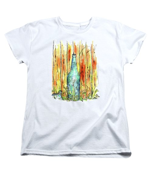 Women's T-Shirt (Standard Cut) featuring the painting Blue Bottle by Cathie Richardson