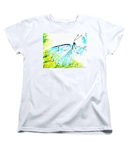 Blue Butterfly On Daisy Alcohol Inks Women's T-Shirt (Standard Cut) by Danielle  Parent