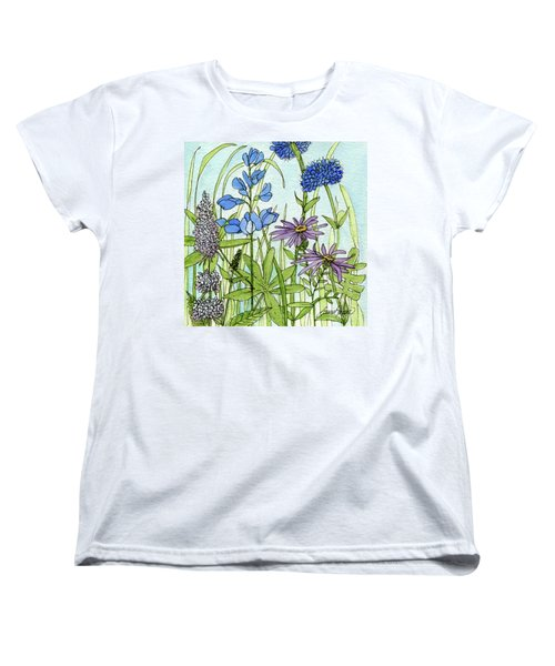 Women's T-Shirt (Standard Cut) featuring the painting Blue Buttons by Laurie Rohner