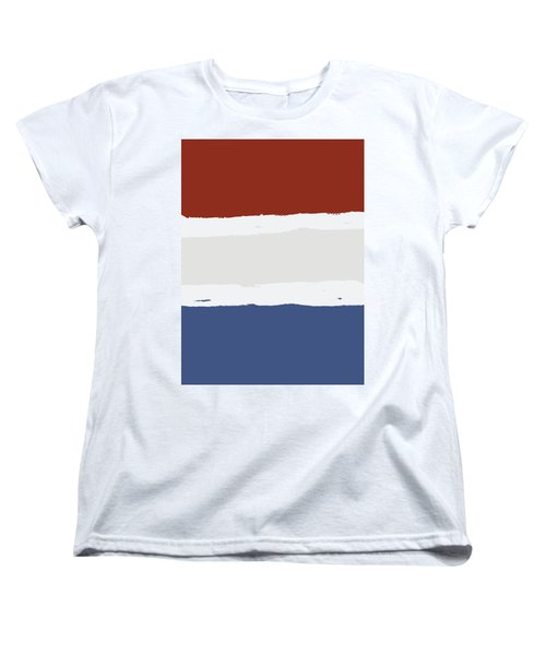 Blue Cream Red Stripes Women's T-Shirt (Standard Cut) by P S