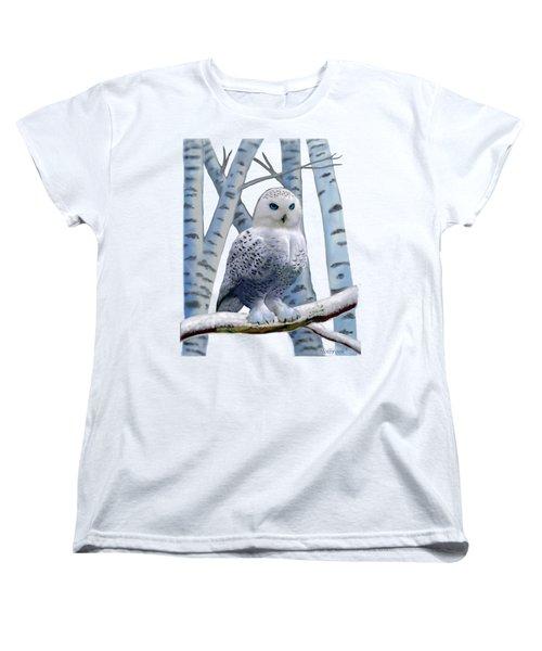 Blue-eyed Snow Owl Women's T-Shirt (Standard Cut) by Glenn Holbrook