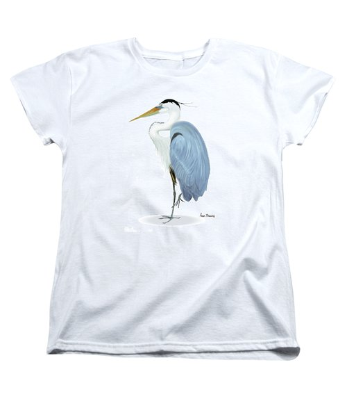 Blue Heron With No Background Women's T-Shirt (Standard Cut) by Anne Beverley-Stamps