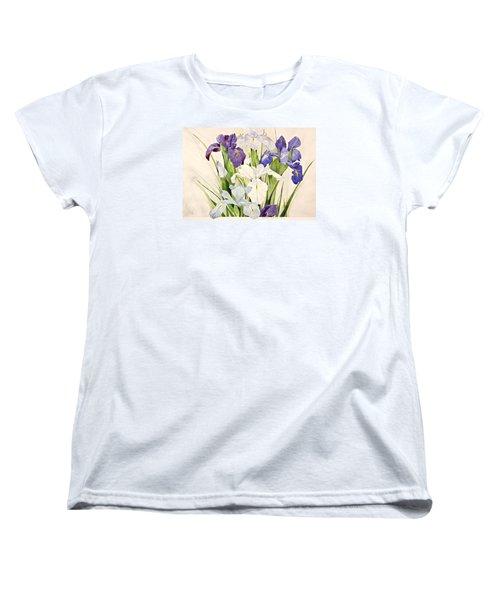 Blue Irises-posthumously Presented Paintings Of Sachi Spohn  Women's T-Shirt (Standard Cut) by Cliff Spohn