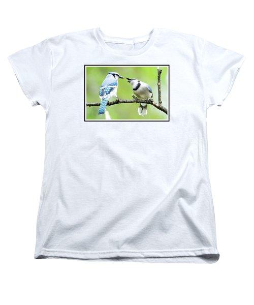 Blue Jay Parent Feeding Juvenile Women's T-Shirt (Standard Cut) by A Gurmankin