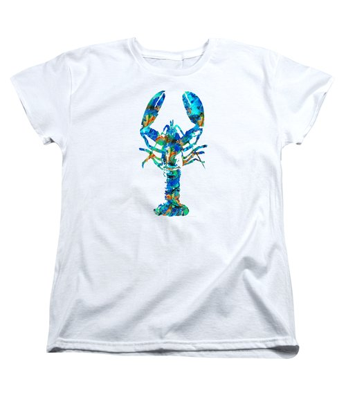 Women's T-Shirt (Standard Cut) featuring the painting Blue Lobster Art By Sharon Cummings by Sharon Cummings