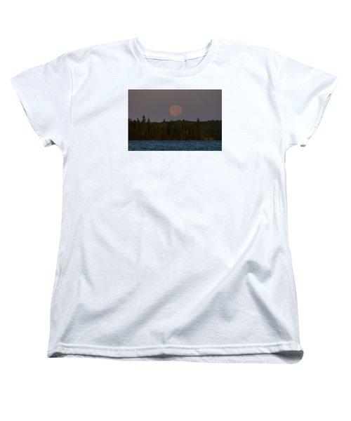 Blue Moon Over Berry Lake Women's T-Shirt (Standard Cut) by Steven Clipperton