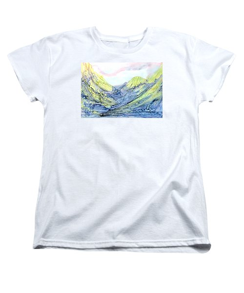 Women's T-Shirt (Standard Cut) featuring the painting Blue Mountains Alcohol Inks  by Danielle  Parent