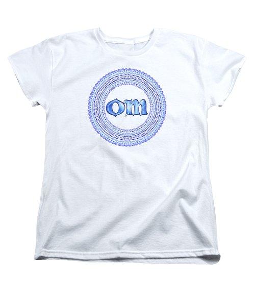 Women's T-Shirt (Standard Cut) featuring the painting Blue Om Mandala by Tammy Wetzel