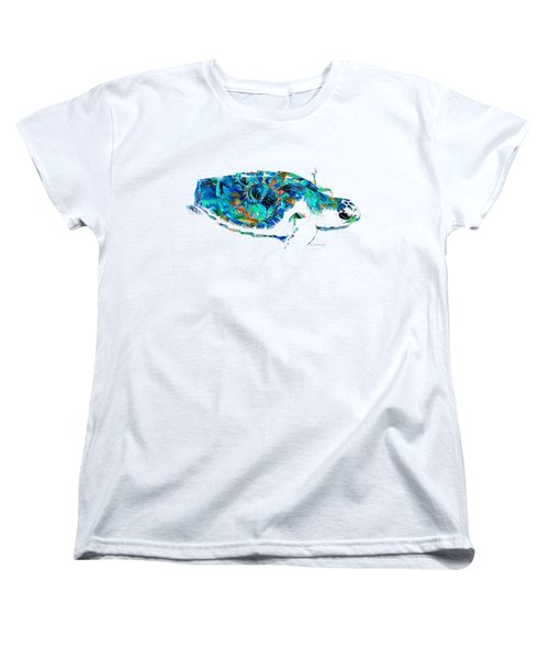 Women's T-Shirt (Standard Cut) featuring the painting Blue Sea Turtle By Sharon Cummings  by Sharon Cummings