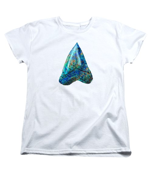 Blue Shark Tooth Art By Sharon Cummings Women's T-Shirt (Standard Cut) by Sharon Cummings
