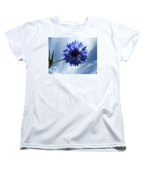 Blue Sky Blue Flower Women's T-Shirt (Standard Cut) by Tina M Wenger