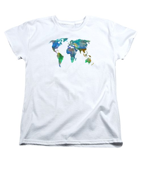 Blue World Transparent Map Women's T-Shirt (Standard Cut)